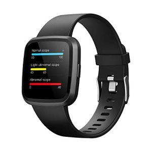 Clearlove77 Artérielle Montre-Bracelet,Bluetooth Montre électronique,Dormir Fitness Tracker,Tracker Montre Connectée,Étanche Fréquence Cardiaque Noir