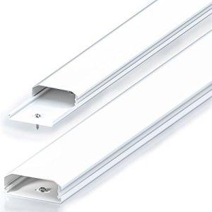 deleyCON Conduit de Câble Goulotte de Distribution Universal Câblage Facile de Câbles et Fils PVC de Grande Qualité Longueur 100cm Largeur 6cm Hauteur 2cm – Blanc