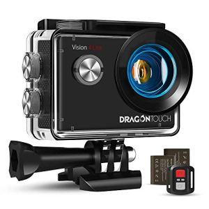 Dragon Touch Caméra Sport 4K Ultra HD Wi-FI 20 MP avec Télécommande,Appareil Photo Stabilisateur EIS Étanche 30M 170 ° Grand-Angle 2 Pouces LCD avec 2 Batteries Rechargeables 1050mAh et Accessoires