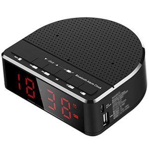 Enceinte Bluetooth Portable Étanche Radio-réveil Accueil Chambre Horloge Numérique 15 Heures de Lecture sans Fil Prise en Charge du Double Réveil/Radio FM/Carte TF/Clé USB