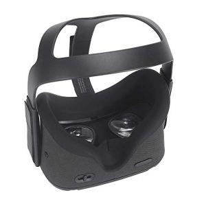 Eyglo Silicone VR Cover de Protection du Visage pour Oculus Quest VR Casque Résistant à la Sueur Pads Faciales de Remplacement (Noir)