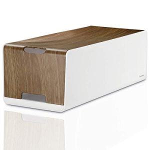 Hama Boîtier pour câbles «Maxi» (boite pour câbles, 40 x 16 x 13 cm, avec pieds en caoutchouc) Woodstyle/Blanc