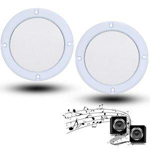 Haut-Parleur Grilles Couverture, 2 PCS 8 Pouces Audio Haut-Parleur De Protection en Métal Couverture en Maille 8 pcs Vis Décoratifs Cercle Couvre(Blanc + Blanc)