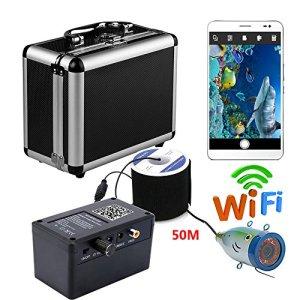HD WiFi sans Fil caméra sous-Marine Pêche Enregistreur vidéo pour iOS Android APP soutient et Enregistrement vidéo Prendre Une Photo, 12 pcs Lampe Infrarouge,50m