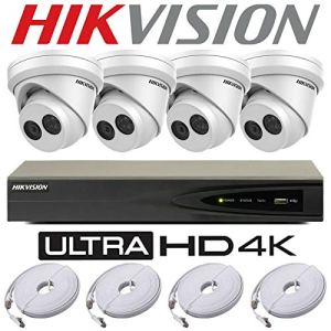 HIKVISION 5 MP IP POE SYSTÈME 4K UHD 4 canaux 4 canaux NVR-DS-7604NI-K1/4P CCTV 4 x TURRET DOME CAMÉRA-DS-2CD2355FWD-I (2000 Go (2 To))