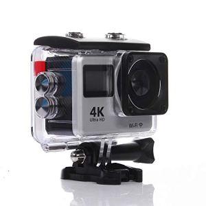 HYZY Caméra d'action 4K Tactile Sport Double Écran DV WiFi Télécommande Caméra Extérieure De Plongée Étanche Caméra HD,Argent