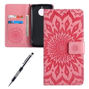JAWSEU Coque Etui Moto E4 Plus Portefeuille PU Étui Folio en Cuir à Rabat Magnétique Élégant Beautiful Tournesol Une Fleur Motif Ultra Mince Stand Leather PU Case Flip Wallet Case