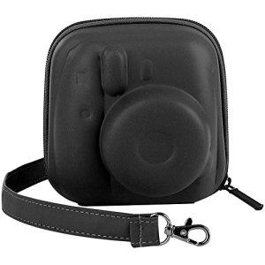 Katia Dur EVA Housse Fujifilm Instax Mini 8/8+/Mini 9 Appareil Photo Instantané – Sac de Caméra en Cuir Voyage Caméra Cover Case Sac avec bandoulière amovible – Noir