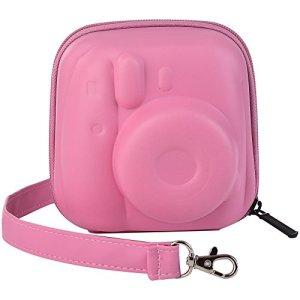 Katia Dur EVA Housse Fujifilm Instax Mini 8/8+/Mini 9 Appareil Photo Instantané – Sac de Caméra en Cuir Voyage Caméra Cover Case Sac avec bandoulière amovible – Rose