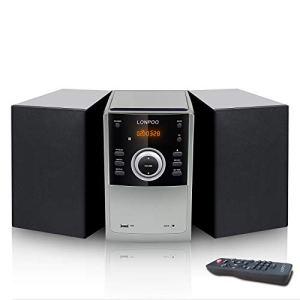 LONPOO Micro Chaine HiFi Bluetooth Lecteur CD, Radio FM, 30W, Port USB, Entrée Audio