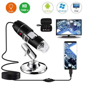 Microscope numérique USB 40X à 1000X, d'endoscope à grossissement Bysameyee 8 LED avec étui de Transport et Support en métal, Compatible avec Android Windows 7 8 10 Linux Mac