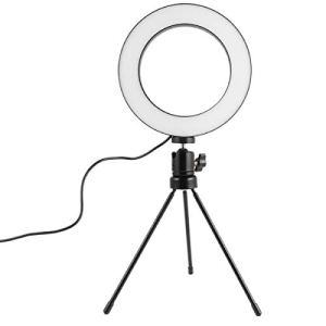 Mobestech Selfie Ring Light 0. 52Ft Dimmable Camera Ring Light with Rack for Live Stream Beauty Maquillage Broadcast Video Photography Online Meeting