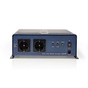Nedis PIPS200012 Convertisseur d'alimentation à Onde sinusoïdale Pure | 12 V c.c. – 230 V c.a. | 2 000 W | 2 Sorties Schuko