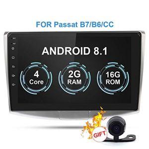 RISHENG Lecteur multimédia d'autoradio – 2en Android 8.1 Appareil Photo Autoradio GPS Navigation DVR – pour Passat B7 B6 / Magotan,B