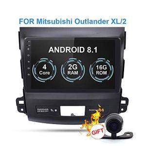 RISHENG Lecteur multimédia de Voiture DVD de Navigation avec enregistreur sur Bande sans Fil Android 8.1 Android 8.1 – pour Mitsubishi Outlander XL 2005-2014,B