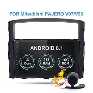 RISHENG Lecteur multimédia DVD de Cassette de Voiture – Caméra arrière de Navigation GPS 8.1 avec Android 8.1 Android 2.1 – pour Mitsubishi Pajero 2006-2014,A