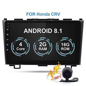RISHENG Lecteur multimédia pour Voiture Android 8.1-2Din 9″Caméra de Navigation Bluetooth Stéréo AutoRadio DVD GPS Bluetooth – pour CRV 2006-2011,B