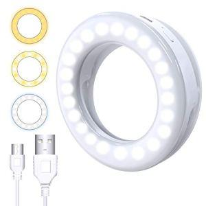 Selfie Ring Light, Derpras Anneau Lumineux téléphone Selfie Lumière téléphone Selfie, 3 Niveaux de luminosité réglable et Rechargeable USB, Lumière de Nuit pour Smartphone