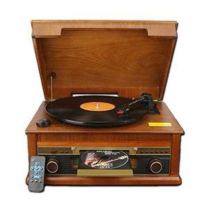 TBTUA Classique Retro Turntable, Connexion sans Fil Vintage Style Record Player, MP3 à Enregistrement, en Bois Naturel