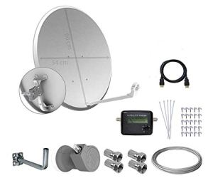 Tecatel E60C1LSCCK1-37 Kit parabolique avec Support, LNB Universel, câble, connecteurs, agrafes, Serre-câbles et Recherche Blanc 60 cm