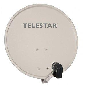 Telestar – 55 cm alu Rapid Satellite-avec tête lNB sKYTWIN-pour 2 récepteurs-Gris