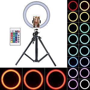 YChoice365 Lumière De Remplissage De Lanneau Lumière De Retardateur LED Lumière De Remplissage De Couleur Rvb Trépied Rétractable Support De Téléphone Portable
