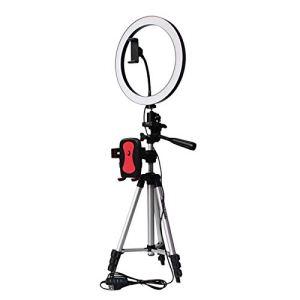 Adanse Trépied support de téléphone Clip avec anneau de LED pour appareil photo photo photo annulaire lampe de studio pour Youtube maquillage téléphone selfie