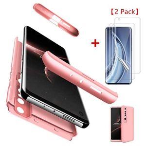 AILZH Housse compatible pour coque Xiaomi Mi 10(5G) Étui+[2*Protection d'écran doux HD]Hard Shell housse 360 degrés protection Antichoc Pare-chocs bumper Anti-rayures Cover Case Matte Rose(Rosy)