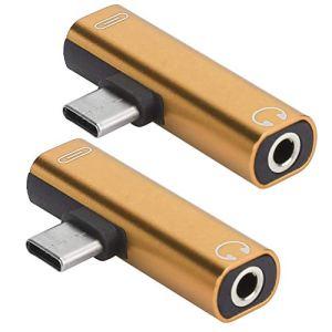 ASHATA 2pcs Adaptateur pour Casque 2pcs Adaptateur de câble USB Type-C mâle à Femelle pour téléphone Portable de Type C(Golden)