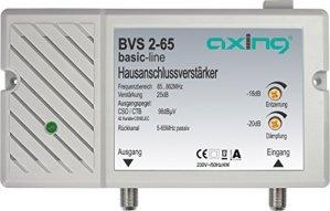 Axing BVS 2-65 Amplificateur domestique 25 dB pour câble TV ou TNT (85-862 MHz, canal retour passif 5-65 MHz)