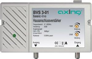 Axing BVS 3-01 Amplificateur domestique 30 dB pour câble TV ou TNT (47-862 MHz, canal retour passif 5-30 MHz)