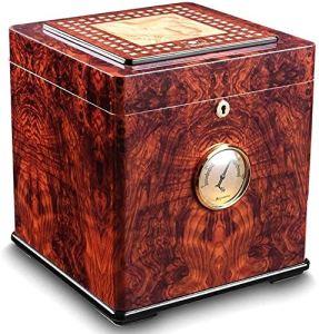 Bois de cèdre boîte de cigares hydratantes grande armoire à cigares humidor cigare à deux étages Taille: 260 * 260 * 288mm humidificateur de boîte à cigaresc RVTYR (Size : A)