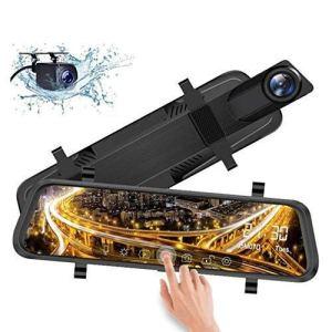 Caméra de tableau de bord Full HD 1080p 9,66 pouces Écran tactile, double objectif de voiture caméra de recul tableau de bord enregistreur carte SD incluse