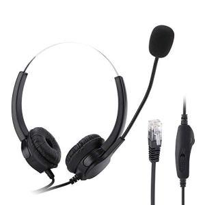 Dpofirs Casque RJ9 pour Centre d'appels avec Annulation de Bruit pour Centre d'appels avec Port Confortable pour boîte d'appel Professionnelle, Appel VoIP Net et Autres téléphones