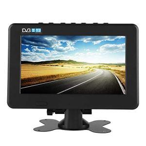 Eboxer Téléviseur Portable TV Numérique de Voiture DVB-T / T2 TV Analogique 1080P, Support ATV/AV/Carte TF/Port USB pour Voiture Camping Maison(7 Pouces)