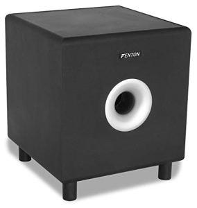 Fenton SHFS08B Subwoofer Caisson de Basse Amplifié 8″ Noir, Actif, 200 Watts, Bass-Reflex, Qualité sonore optimale, Caisson de Basse pour Home Cinéma ou HiFi