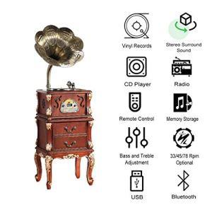 GOM Chaîne stéréo Tout-en-Un avec Bluetooth, Haut-parleurs intégrés, Lecteur de Disque à 3 Vitesses, Sortie RCA Standard, Lecteur de CD de Support, Radio FM, Port USB (Color : Red)