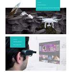 HANYF AR Intelligent Lunettes, Réalité Augmentée Smart Camera All-in-One, Traduction/Navigation/Photographier/Drone de contrôle, approprié au Travail/Portable,Noir