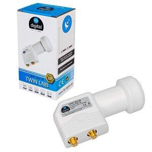 HB-DIGITAL Universal Twin LNB Blanc – UHD 4K Full HD DVB-S/S2 – Facteur de bruit de 0,1 dB – pour deux récepteurs satellite (connexion directe) – Contacts dorés – Protection contre les intempéries