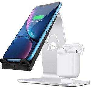 HNKPWY Chargeur sans Fil Deux en Un pour Support de Bureau pour Casque Bluetooth pour téléphone Portable-Argent