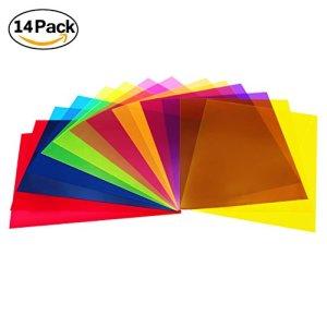 Hooggle Lot de 14 feuilles de protection colorées transparentes en plastique pour filtre à lumière gel, 21,6 x 27,9 cm, 7 couleurs assorties