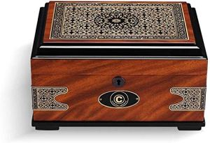 Impression Cigar hydratantes boîte rétro européenne cèdre alcoolisé bois massif grande capacité 尺寸: 290 * 215 * 150mm humidificateur de boîte à cigaresc RVTYR (Size : A)