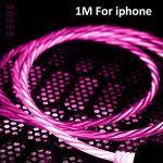 Knowled Câble de charge 1 m 2,4 A Lumière Câble USB Câble de chargement rapide pour smartphones Ios/Android/Type-C Mise hors tension intelligente, Charge rapide et sûre, rose, IOS – 1M