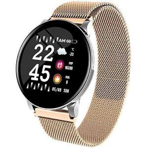 LQLQ Smart Montre pour Les Hommes et Les Femmes, avec Moniteur de fréquence Cardiaque, imperméable à l'eau, téléphone, Pense-bête Météo, Fitness Watch, Bluetooth Smart Montre,D