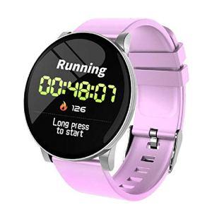 LQLQ Smart Montre pour Les Hommes et Les Femmes, avec Moniteur de fréquence Cardiaque, imperméable à l'eau, téléphone, Pense-bête Météo, Fitness Watch, Bluetooth Smart Montre,F