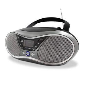 METRONIC 477171 Lecteur CD MP3 numérique Dab+ et FM RDS avec Port USB, entrée Audio, Sortie Casque, Fonction Double Alarme – Gris et Noir