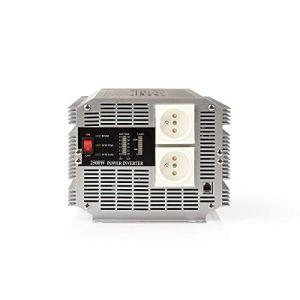 Nedis PIMS250024E Convertisseur d'alimentation à Onde sinusoïdale modifiée | 24 V c.c. – 230 V c.a. | 2 500 W | 2 Sorties à Broche de Terre | Télécommande