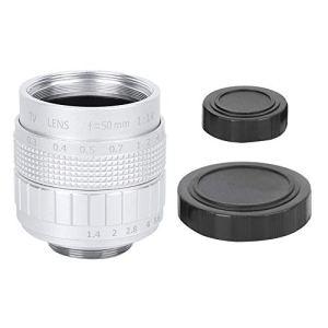Objectif de la Caméra Verre Optique 50 mm F1.4 C Mont MC Revêtement de Film Multicouche Ouverture Manuelle Photographie CCTV Objectif de la Caméra(Argent)