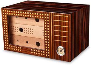 Peinture piano bois de cèdre Boîte à cigares en bois massif humidificateur grande capacité à trois couches de fumer boîte à cigares 2 couleurs humidificateur de boîte à cigaresc RVTYR (Color : A)
