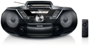 Philips AZ787 Lecteur CD et Cassettes Portable avec USB, Prise Casque, Radio FM, sur secteur ou piles